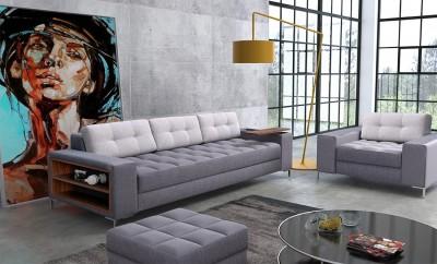 Pikowana sofa z bardzo dobrą funkcją spania oraz fotelem