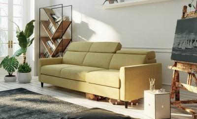 Sofa Simple  226 cm w musztardowej tkaninie Mystic